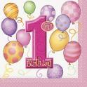 First Birthday Balloons beverage napkins