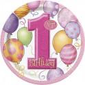 First Birthday Balloons dessert plate