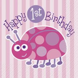 Ladybug First Birthday beverage napkins