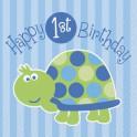 First Birthday Turtle beverage napkins