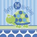 Turtle First Birthday luncheon napkins