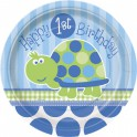 Turtle First Birthday dessert plate