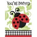 8 LIVELY LADYBUGS INVITATIONS