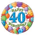 "18"" BULK 40TH BDAY BLLNS FOIL"