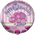 "Ladybug First Birthday 18"" mylar balloon"
