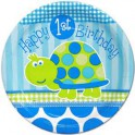Turtle First Birthday luncheon plate