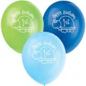 """8 12"""" FIRST BDAY TURTLE BLN 1S"""