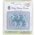 6 BABY RATTLE 2.5'' BLUE FAVOR