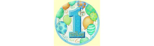 First Birthday Balloons Blue Pattern