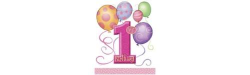 First Birthday Balloons Pink Pattern